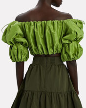 Interlace Off-the-Shoulder Taffeta Top, GREEN, hi-res