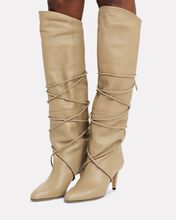Lades Leather Knee-High Boots, BEIGE, hi-res