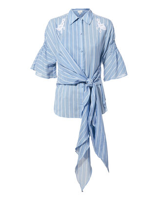 Lace Striped Tie Shirt, BLUE-MED, hi-res