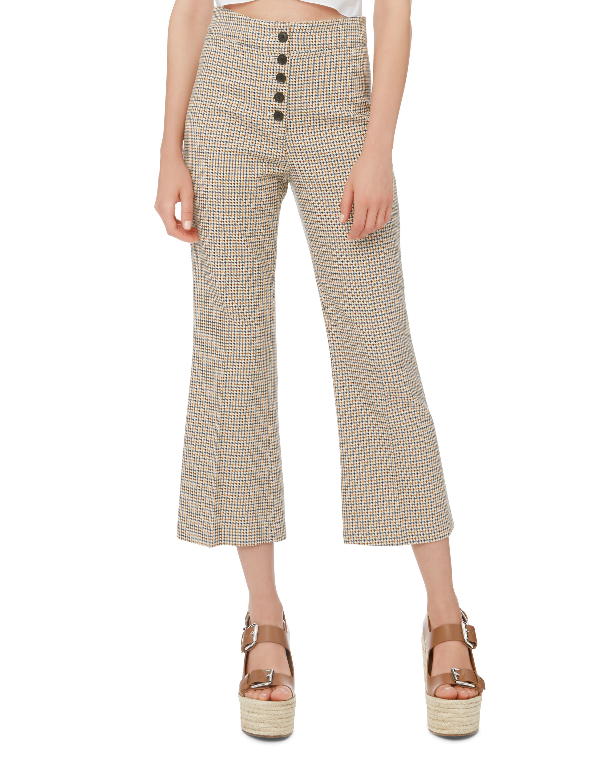 Zap Crop Flare Trousers, BLUE-MED, hi-res