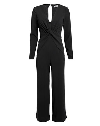 Twist Front Jumpsuit, BLACK, hi-res