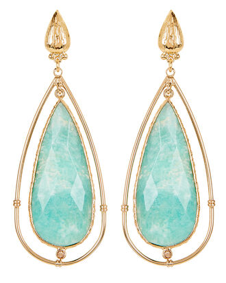 Serti Cage Amazonite Teardrop Earrings, GOLD/BLUE, hi-res