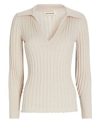 Ivanna Knit Cotton-Wool Polo Top, IVORY, hi-res