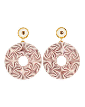 Jasper Woven Disc Earrings, BLUSH, hi-res