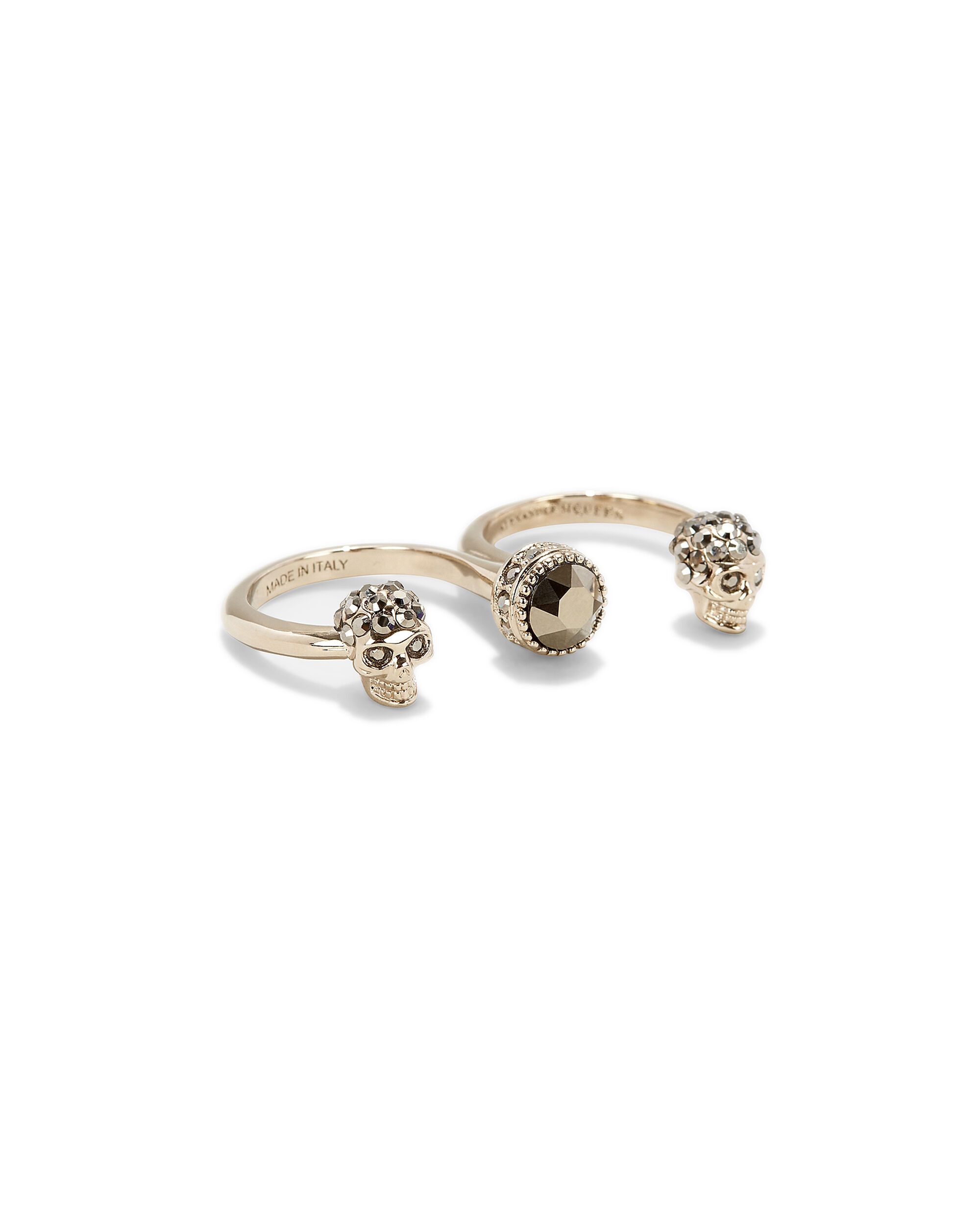 Skull Double Ring, GOLD, hi-res