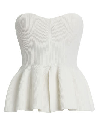 Strapless Peplum Knit Top, WHITE, hi-res