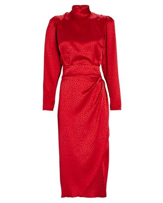 Kaira Jacquard Satin Dress, RED, hi-res