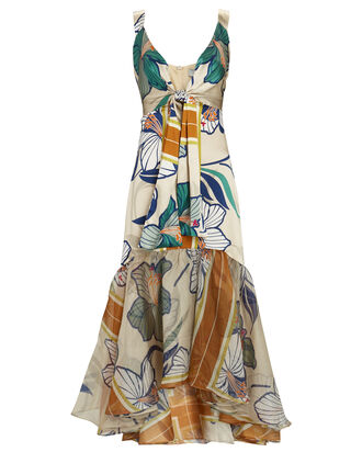 Catanzaro Floral Silk Midi Dress, BEIGE/TURQUOISE, hi-res