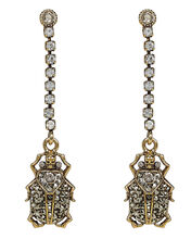 Beetle Crystal Chain Earrings, GOLD, hi-res