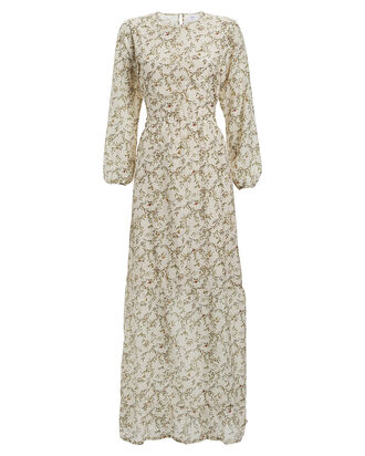 Annalie Floral Cut-Out Midi Dress, BEIGE/FLORAL, hi-res