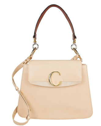 C Logo Leather Shoulder Bag, IVORY, hi-res