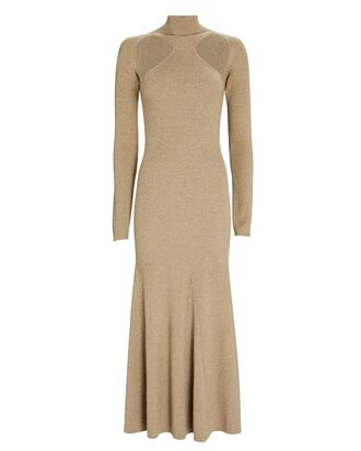 Anaira Cut-Out Wool Knit Dress, BEIGE, hi-res
