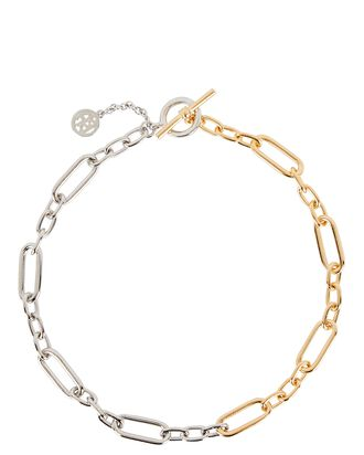 Mixed Metal Oval Chain Necklace, SILVER/GOLD, hi-res