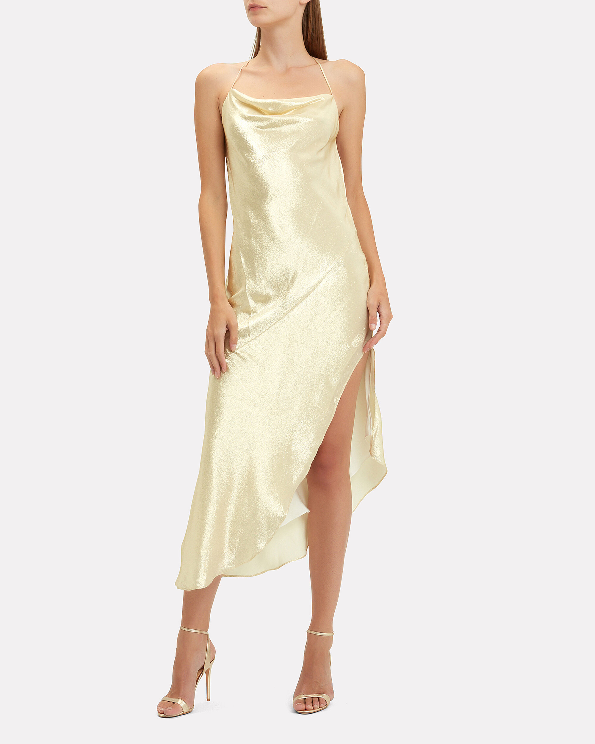 Goldie Asymmetric Dress, GOLD, hi-res