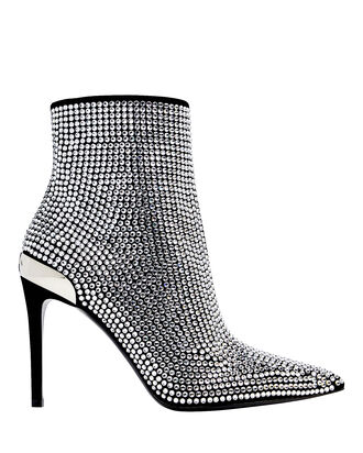 Crystal-Embellished Leather Booties, SILVER, hi-res