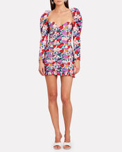 Ruched Floral Poplin Mini Dress, MULTI, hi-res