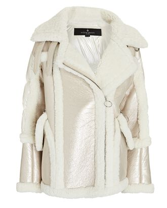 Montaigne Shearling Puffer Jacket, IVORY, hi-res