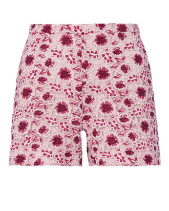 Red Floral Lace Shorts, PINK, hi-res