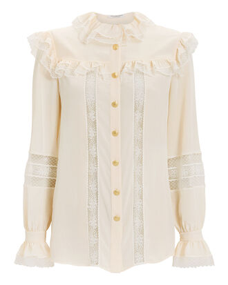 Victorian Lace Blouse, WHITE, hi-res