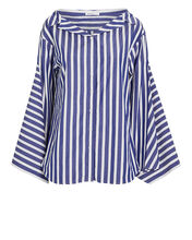 Striped Cotton Button-Down Shirt, NAVY, hi-res