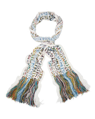 Fringed Logo Scarf, WHITE, hi-res