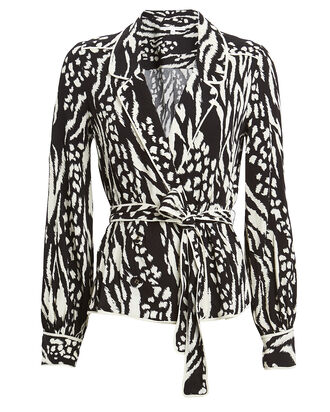 Clive Animal Print Crepe Top, BLACK/WHITE, hi-res