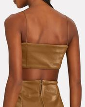 Solna Faux Leather Crop Top, BROWN, hi-res
