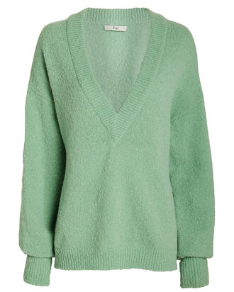 Airy Alpaca V-Neck Sweater, MINT GREEN, hi-res