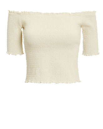 Eva Smocked Top, IVORY, hi-res