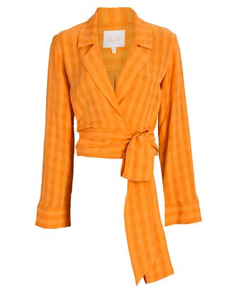 Piazza Checked Wrap Top, ORANGE, hi-res