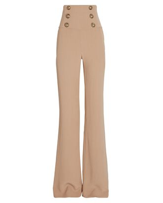 Crepe Buttoned Wide-Leg Trousers, BEIGE, hi-res