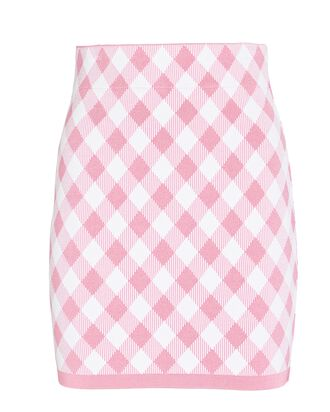 Gingham Knit Jacquard Mini Skirt, PINK/WHITE, hi-res