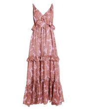 Misha Ruffled Silk Maxi Dress, PINK/FLORAL, hi-res