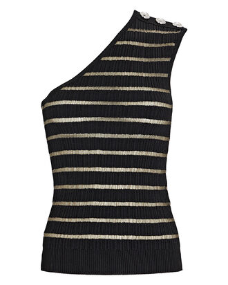 Striped One-Shoulder Knit Top, BLACK, hi-res