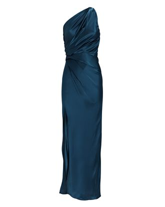 One-Shoulder Silk Satin Gown, DARK BLUE, hi-res