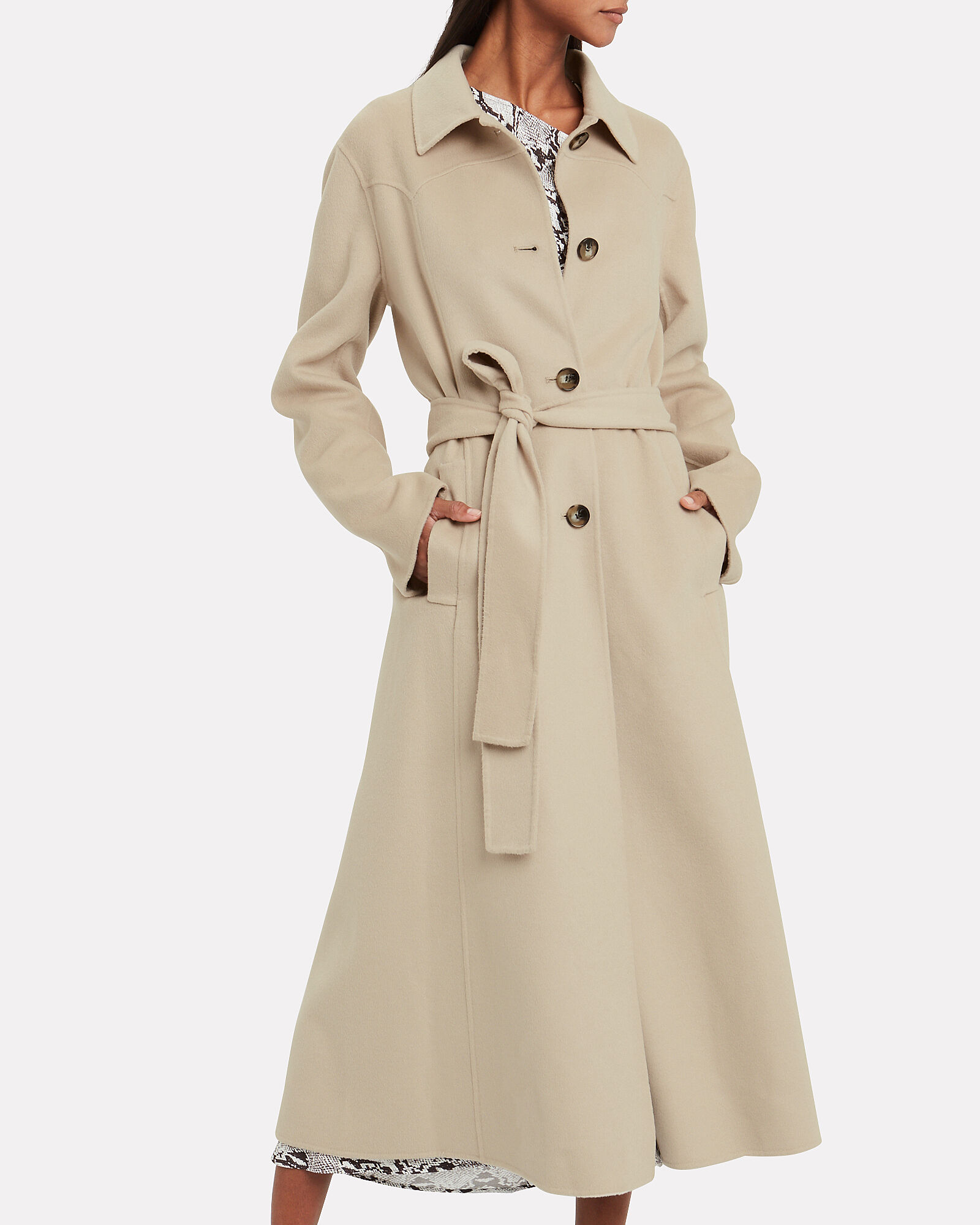 Sira Belted Double Wool Coat, BEIGE, hi-res