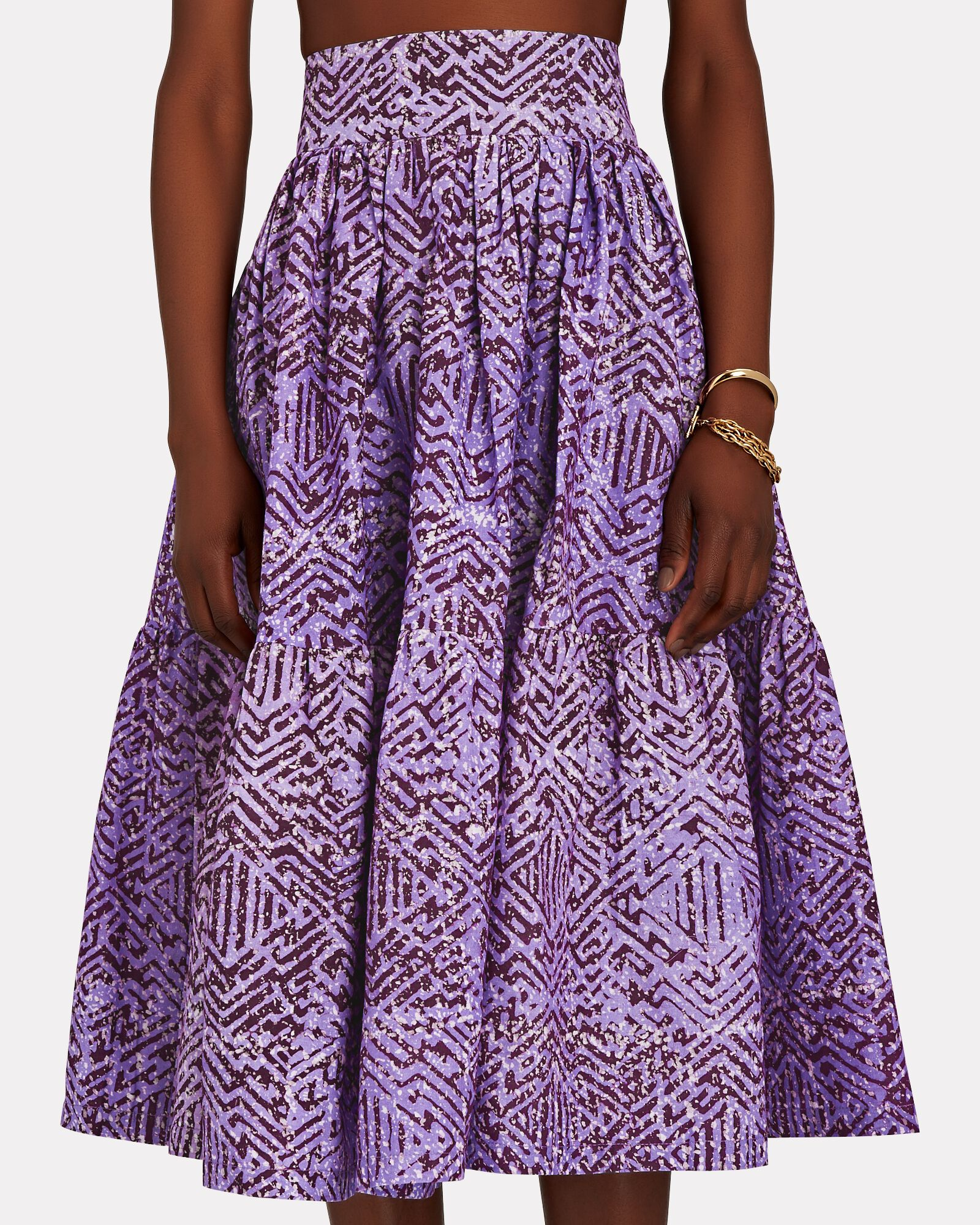 Rosette Tiered Printed Cotton Skirt, MULTI, hi-res