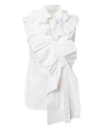 Ruffle Asymmetric Blouse, WHITE, hi-res