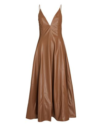 Vegan Leather Midi Dress, BROWN, hi-res