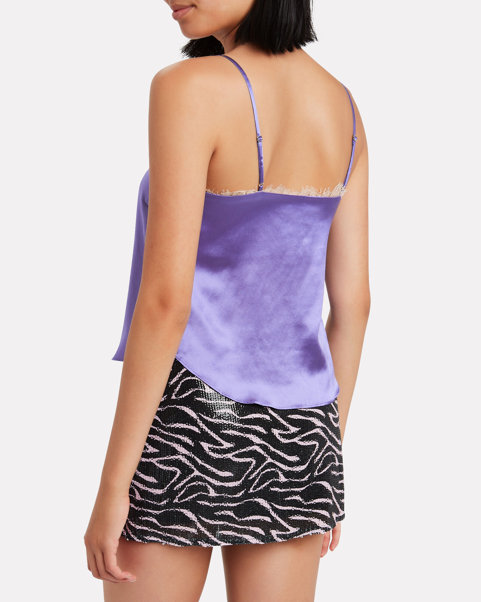 Lace-Trimmed Silk Camisole, AMETHYST, hi-res