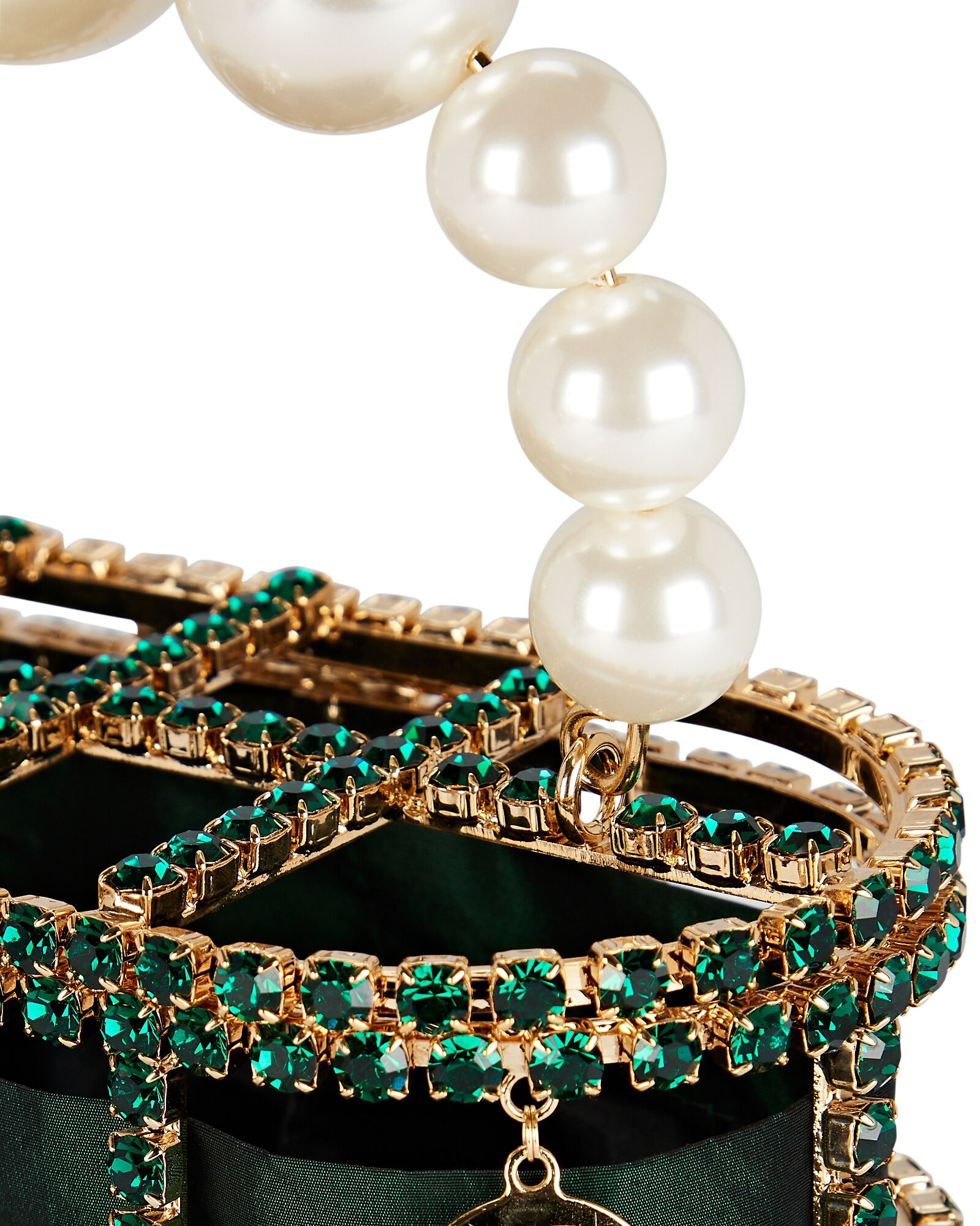 Holli Cage Pearl And Crystal Clutch, GREEN, hi-res