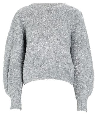 Carina Puff Sleeve Metallic Sweater, SILVER, hi-res