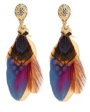 Feather Multicolored Earrings, MULTI, hi-res
