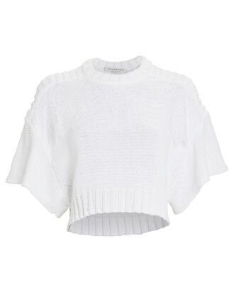 Lace Overlay Short Sleeve Sweater, WHITE, hi-res