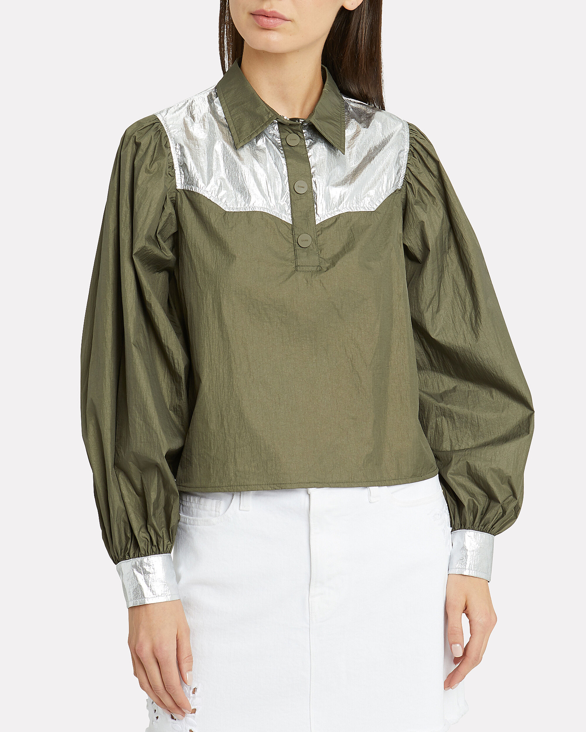 Mica Colorblocked Tech Top, OLIVE/SILVER, hi-res