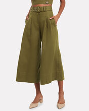 Belted Wide Leg Linen Trousers, GREEN, hi-res