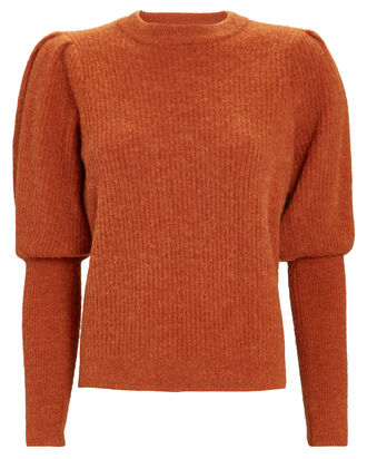 Rhonda Bishop Sleeve Sweater, ORANGE, hi-res