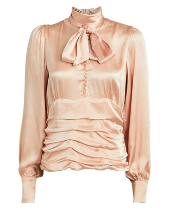 Bolette Tie-Neck Charmeuse Blouse, BLUSH, hi-res
