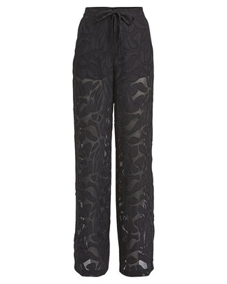 Sheer Panel Drawstring Pants, BLACK, hi-res