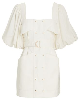 Lovell Belted Puff Sleeve Mini Dress, IVORY, hi-res